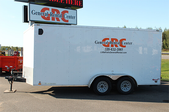 White enclosed trailer with the wording General Rental Center on it